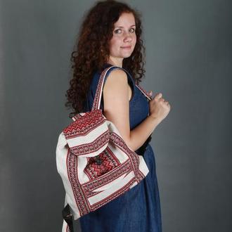 Етно рюкзак, наплічник з червоною вишивкою в українському стилі