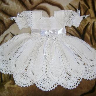 Вязаное крестильное платье, 0-3 мес.