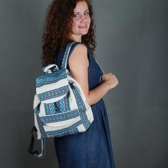 Этно рюкзак, рюкзак с синей вышивкой в украинском стиле