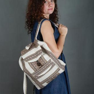 Этно рюкзак, рюкзак с коричневой вышивкой в украинском стиле