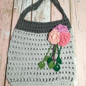 Сумка авоська с розами, эко сумка шоппер, городская сумка для покупок
