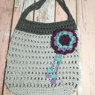 Эко сумка авоська с цветком, сумка шоппер, стильная сумка авоська