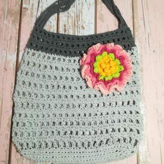 Сумка авоська с объемным цветком, эко сумка шоппер, городская сумка для покупок
