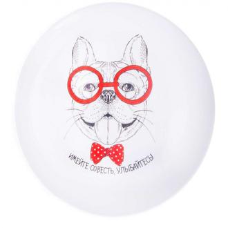 Тарелка Собака — «Имейте совесть улыбайтесь» 25 см Белая
