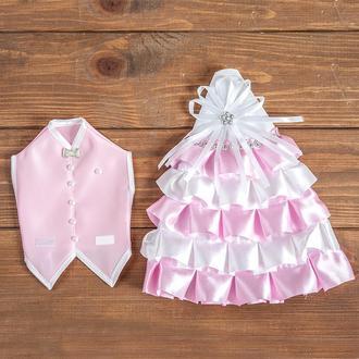 Украшения для шампанского на свадьбу розовое