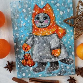 картина на дошці кіт киця котик