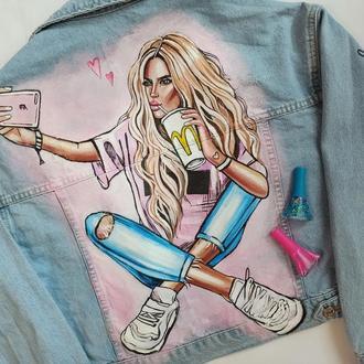роспись джинсовки девушка
