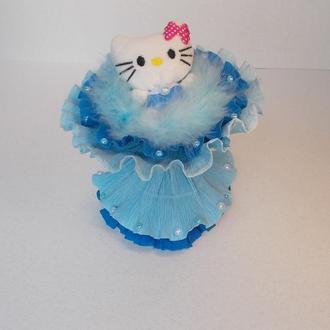 """Kitty in blue"" Букет. Мягкая игрушка.Китти."