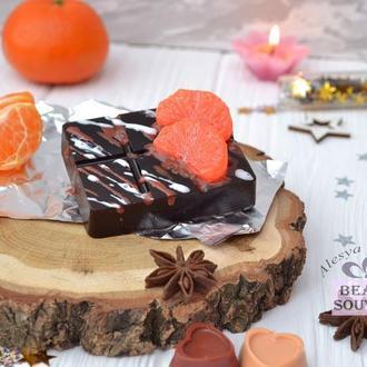 Мыло - скраб кофейный ШОКОЛАДКА с дольками мандарин