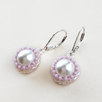 Розовые сережки с жемчугом Сваровски из японского бисера для невесты или на каждый день. Swarovski