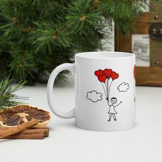 Кружка в подарок ко Дню влюбленных, Чашка с рисунком