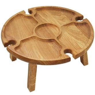 Винный столик из натурального дерева дуба складной 35 х 17 см