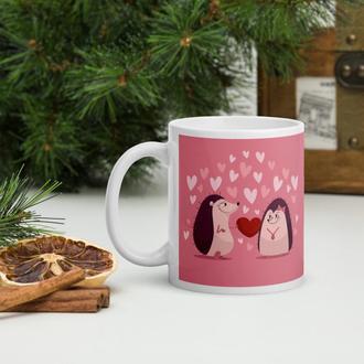 Кружка в подарок ко Дню влюбленных (Ежики), Чашка с рисунком