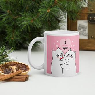 Кружка в подарок ко Дню влюбленных (Влюбленные котики), Чашка с рисунком