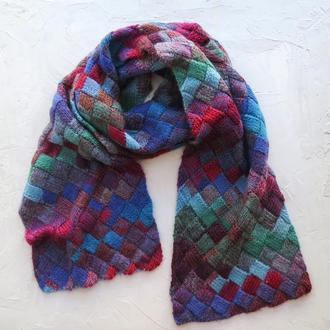 Большой вязаный шарф. Шерстяной шарф, подарок женщине девушке