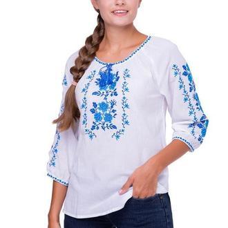 Блуза вышиванка женская Букет розы (батист белый)