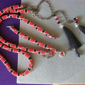 Комплект: пояс, ожерелье и  браслет.