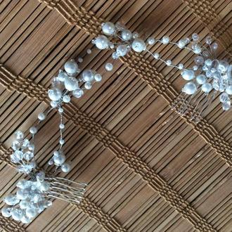 Свадебное украшение для причёски невесты с двумя гребнями