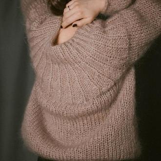 Пуловер мохеровый, свитер спицами, свитер ручной работы, пуловер из мохера