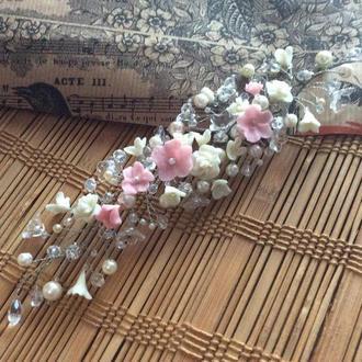 Нежная веточка в прическу невесты, свадебная веточка