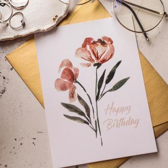 Открытка цветы День Рождение