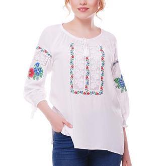 Блуза Вышиванка Женская Ласкавиця (Штапель Белый)