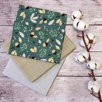 Набор хлопковой ткани для рукоделия Лесной и з 3-х штук