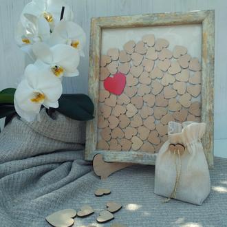 Рамка для пожеланий на 75 сердечек (золотисто-бежевая)