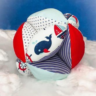 """Мяч ТАКАНЕ 🌞 для раннего развития малыша 0+. Мяч МОНТЕССОРИ  🐳""""Синий  КИТ""""🐳 хватательный тренажер"""