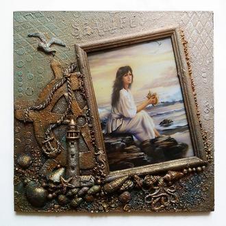 Оригинальная фоторамка морская Настенный морской декор Сувениры морской тематики