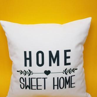 Декоративная подушка - home sweet home, белая подушка Киев, черная декоративна подушка геометрия