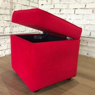 Квадратный пуф с ящиком для хранения 47х47 см красный