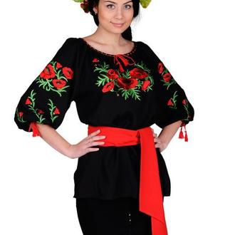 Блуза Вышиванка Женская Маковая Роса (Штапель Черный)