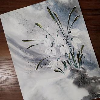 "Картина 40*30  ""Весна"" подснежники"