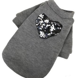 Светр ангора серце пайетка сірий одяг для собак