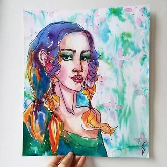 Яркая картина, иллюстрация Девушка с цветным волосами на зеленом фоне БЕЗ РАМКИ