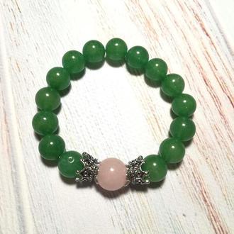 Браслет Нефритовий з Рожевим Кварцом натуральний камінь \ Sb - 0093