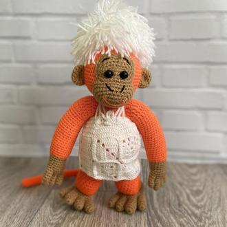 Вязаная обезьяна, игрушка обезьяна.