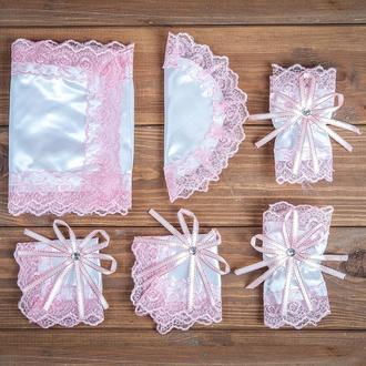 Набор для венчания с кружевом розовый