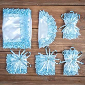 Набор для венчания с кружевом голубой