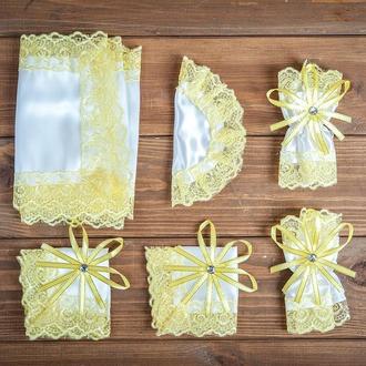 Набор для венчания с кружевом желтый