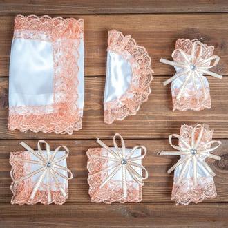 Набор для венчания с кружевом персиковый