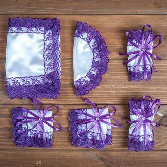 Набор для венчания с кружевом фиолетовый