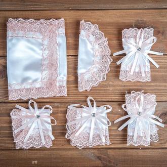 Набор для венчания с кружевом пудровый