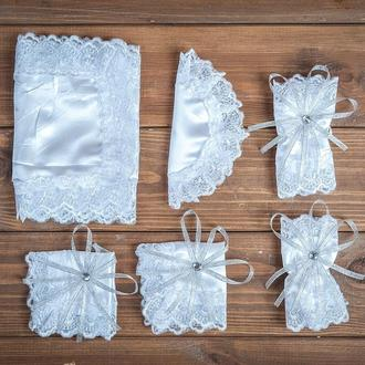 Набор для венчания с кружевом серебристый