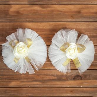Свадебное украшение на авто для ручек и зеркал золотистого цвета 2 шт (арт. ADM-16)
