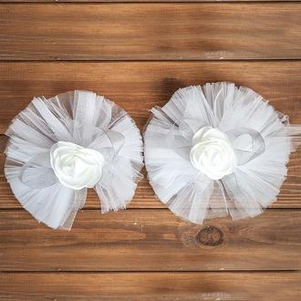 Свадебное украшение на авто для ручек и зеркал серебристого цвета 2 шт (арт. ADM-15)