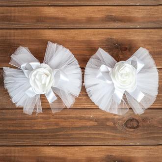 Свадебное украшение на авто для ручек и зеркал белого цвета 2 шт (арт. ADM-1)