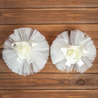 Свадебное украшение на авто для ручек и зеркал бежевого цвета 2 шт (арт. ADM-2)