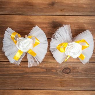 Свадебное украшение на авто для ручек и зеркал желтого цвета 2 шт (арт. ADM-9)